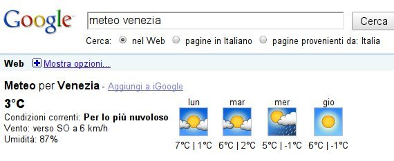 Previsioni Meteo con Google