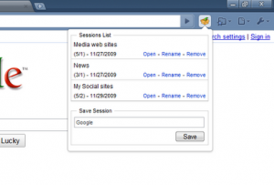 Session Manager. Salva le sessioni con Chrome